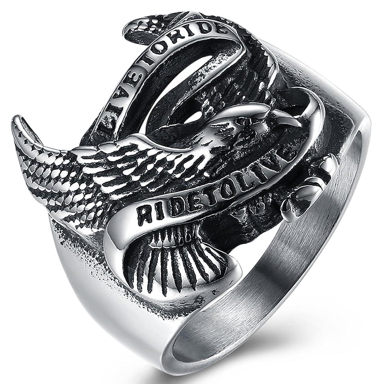 メンズヴィンテージゴシックステンレススチールシルバーブラックオートバイスタイルEagleバイカーリングサイズ7 – 13 B077D2X5TW