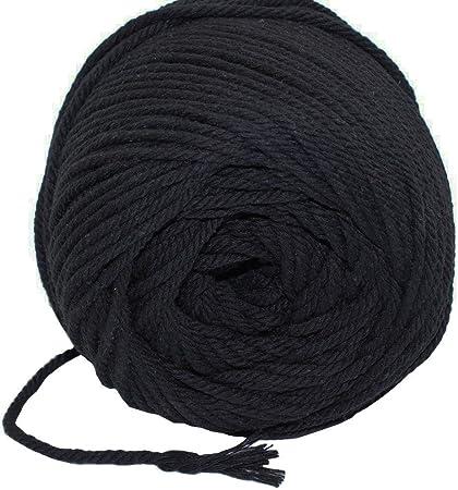 AILINDA - Cuerda de macramé de algodón natural de 3 capas de 3 capas para colgar en la pared 100 m negro: Amazon.es: Hogar