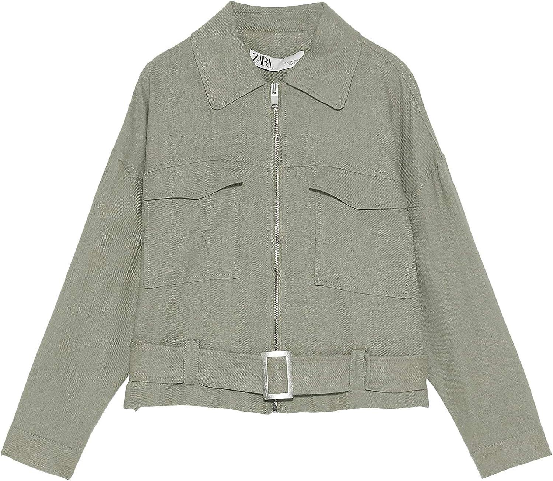Zara 8004/021 - Chaqueta con cinturón para Mujer - Verde ...