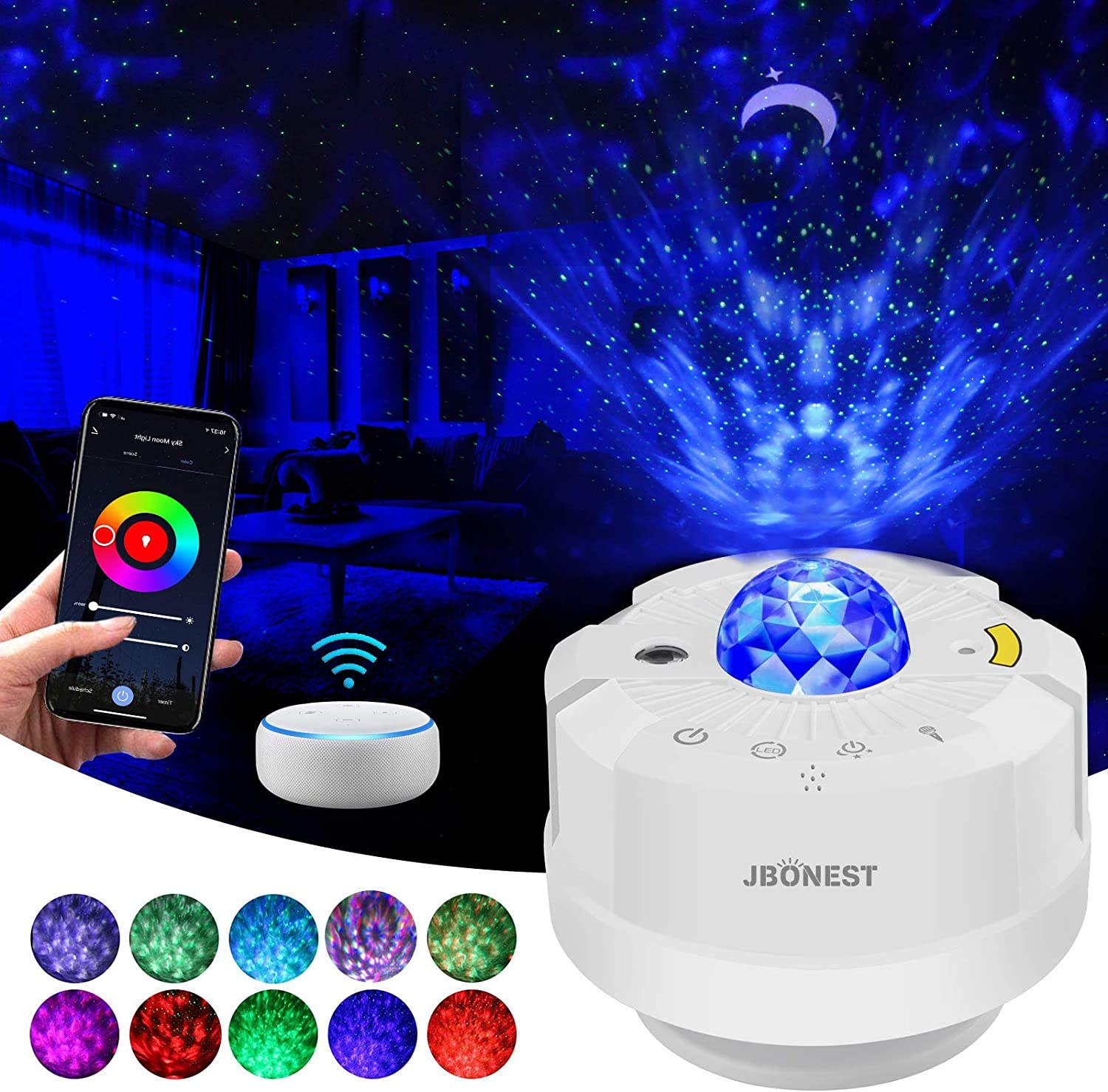 Galaxy Star Projector,Smart Night Light Projector,Nebula Cloud/Ocean Wave,Auto Timer,Sound Control,Manual & Wi-Fi Mode,for Kids Bedroom,Home Theater Lighting,Work with Alexa & Google Assistant