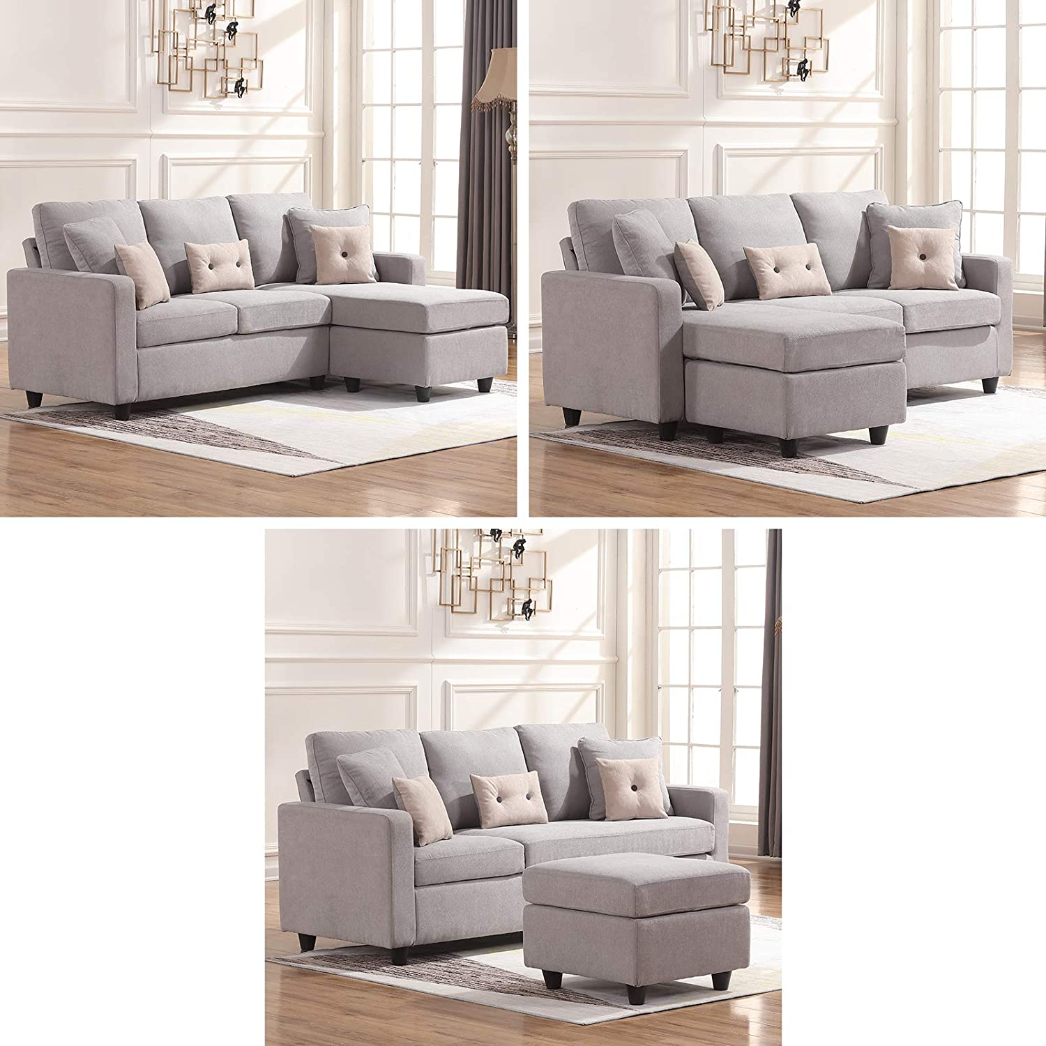 L-Shaped Couch with Modern Linen Fabric for Small Space Light Grey