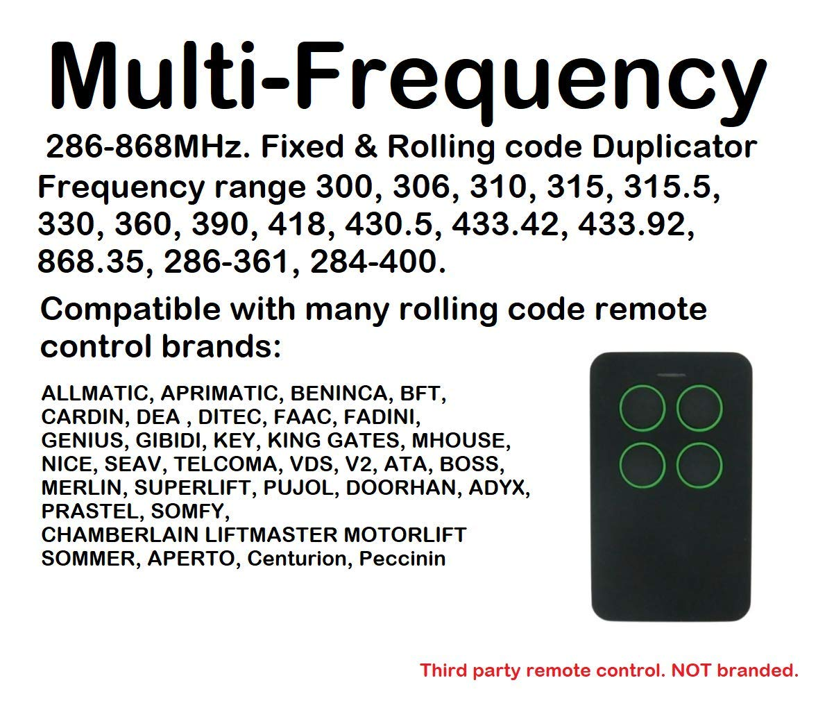 Cl/é t/él/écommande universelle 4 canaux multi-fr/équences pour clonage//duplicateur /à code roulant 286-868 MHz.