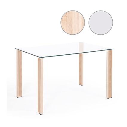 Adec - Mesa comedor salón o cocina, mesa de Cristal Olimpia, patas ...