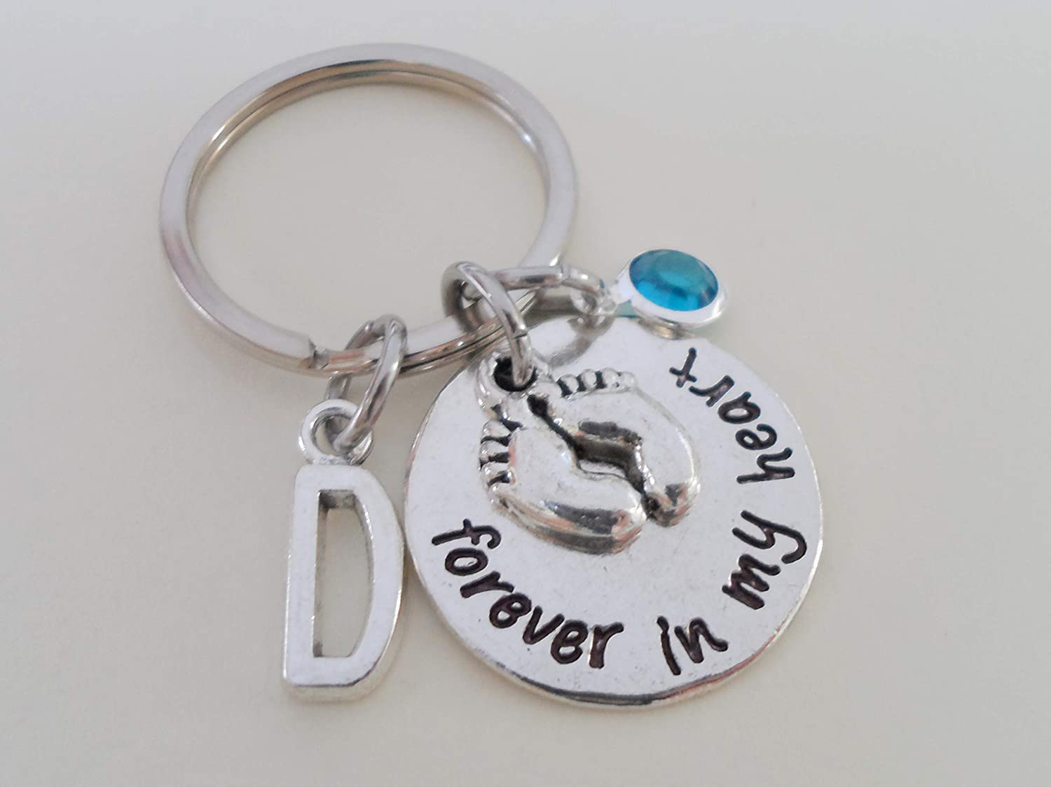 Custom Forever in My Heart Disc & Baby Feet Charm Keychain, Infant Loss Gift, Miscarriage Stillborn, Memorial Keychain