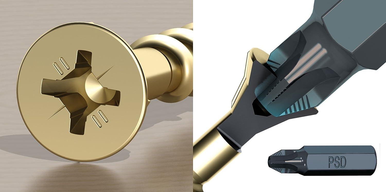Ulti-Mate II S25020L1 Caja Grande con Tornillos de Alto Rendimiento para Madera Acabado BICROMATADO y Punta PSD de 25mm incluida de 2,5 x 20 mm, ...