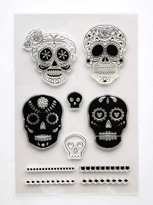 MaGuo Skull Clear Stamps Couple Skull for Paper Craft Card Making Decoration or DIY Scrapbooking