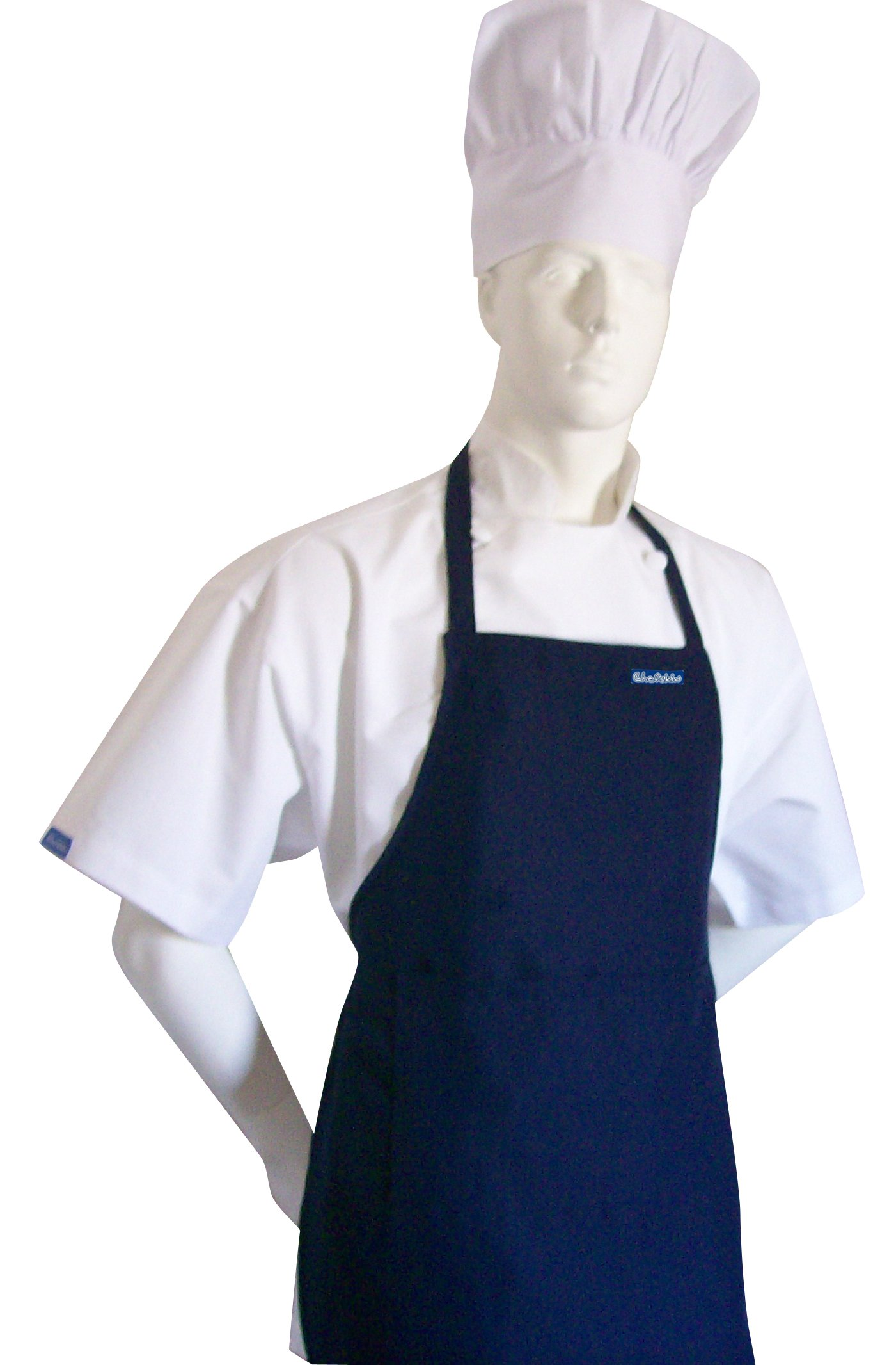 Chefskin TALL Chef Set (Apron+hat) Adjustable, Ultra Lite Fabric (NAVY APRON+WHITE HAT)