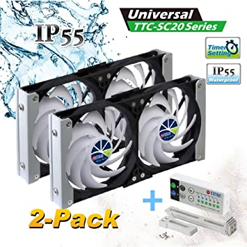 TTC-SC20 Titan 12V DC IP55 Waterproof Double Rack Mount Ventilation Cooling Fan with Timer and Speed Controller 90mm