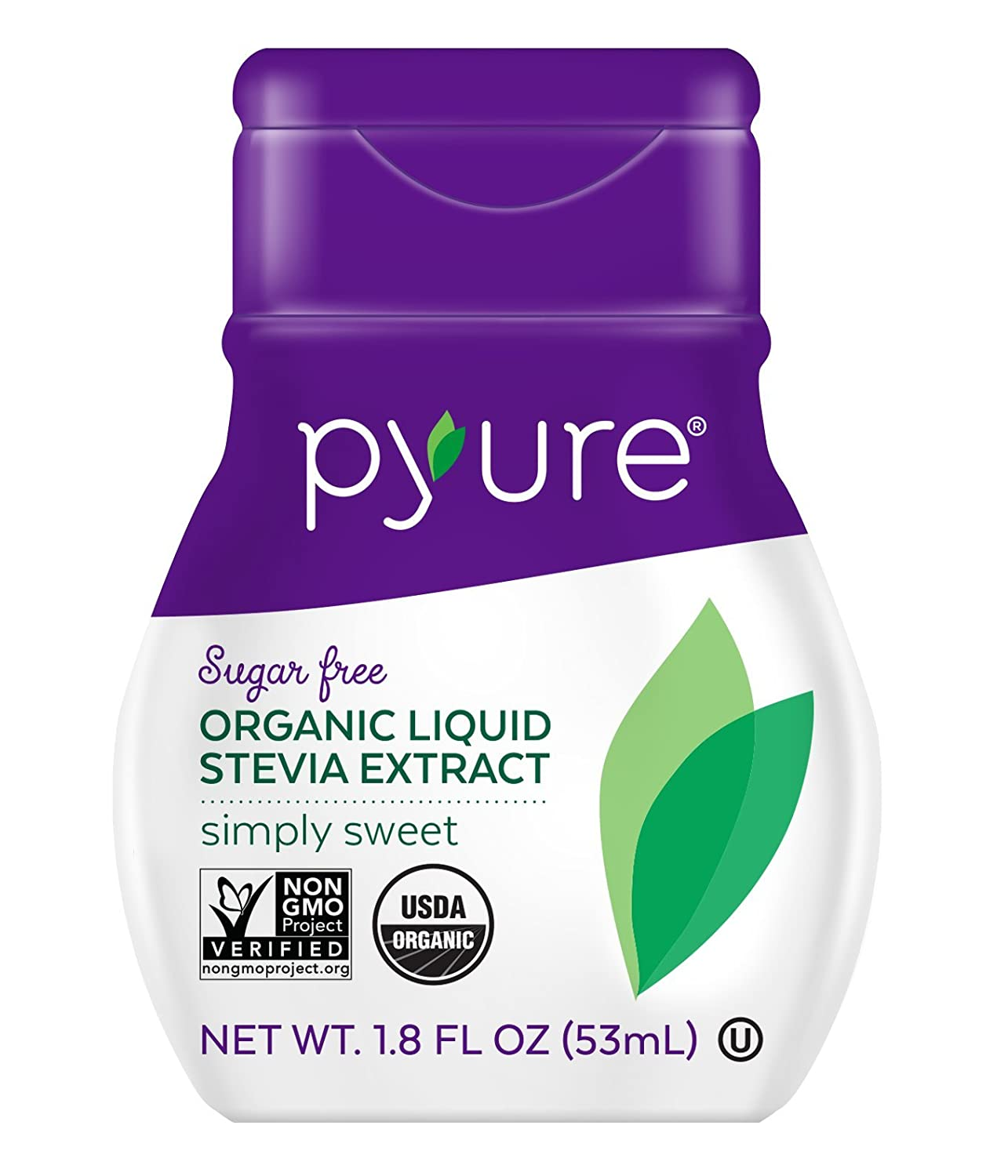 Pyure Organic Liquid Stevia Extract Sweetener, Simply Sweet, Sugar Substitute, 200 Servingsper Container, 1.8 Fl. Oz. Pack of 6