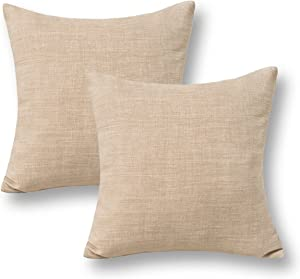 Jeanerlor Pack of 2 Decor Burlap Natural Style Lined Linen 18x18 inch Throw Pillow Yellow Cases Cushion Cover for Car/Christmas Day,(Natural Linen)