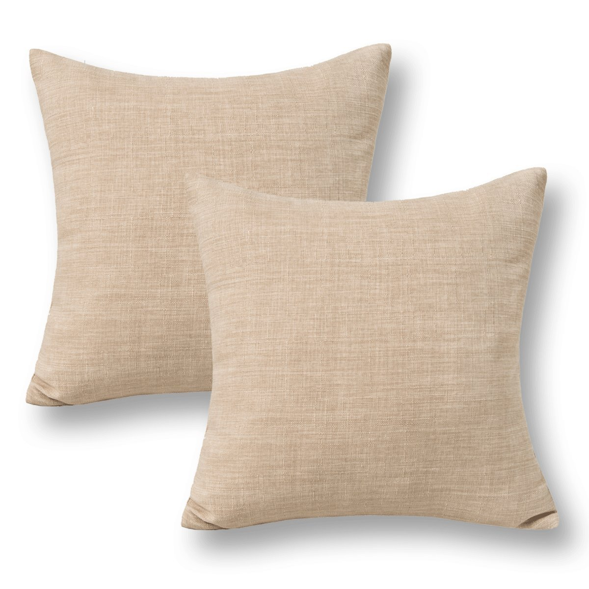 Jeanerlor Pack of 2 Decor Burlap Natural Style Lined Linen Throw Pillow Cases Cushion Cover Car, 18x18 inch(Natural Linen) by Jeanerlor