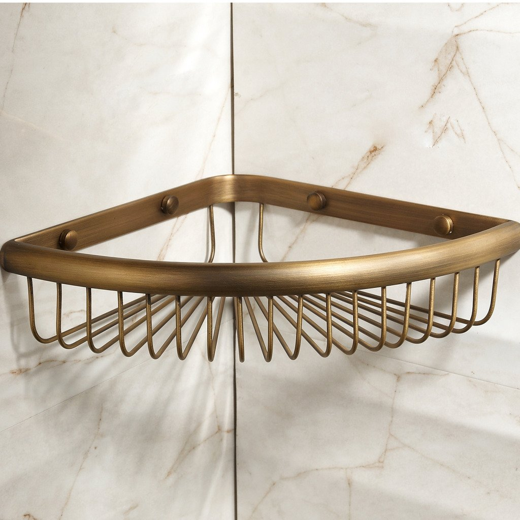 Corner Basket for Bathroom by MAMOLUX ACC| Solid Brass Shower Basket Shelf Tidy Rack Caddy Storage Organizer Antique Bronze Finish|Space Saving Toiletries/Cosmetics Holder by Marmolux Acc (Image #3)