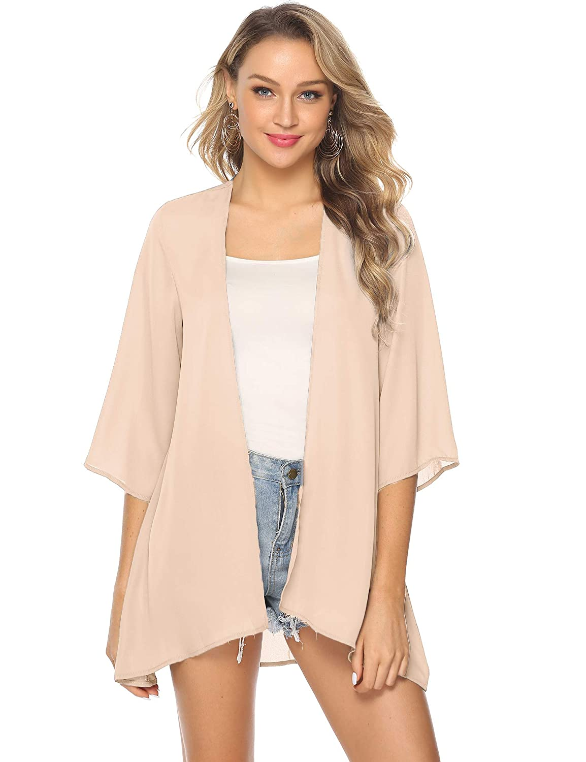 168dd6223 Abollria Women's Beach Cover up Chiffon Floral Boho Summer Cardigan Kimono  Blouse: Amazon.co.uk: Clothing