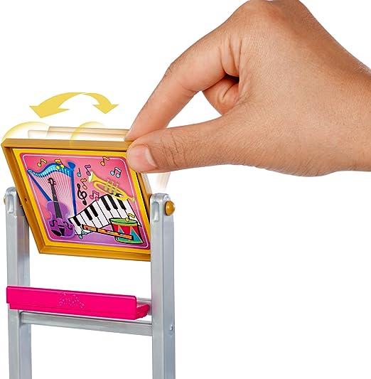Barbie Insegnante di Musica BAMBOLA BIONDA Playset con inversione Lavagna /& Studente