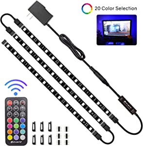 "LED Strip Lights, HitLights 3 Pre-Cut 12Inch/36Inch LED Light Strip Accent Kit for 24""-60"" TV,Mirror,PC, Flexible Color Changing 5050 LED Accent Kit with RF Remote, Power Supply and Connectors"