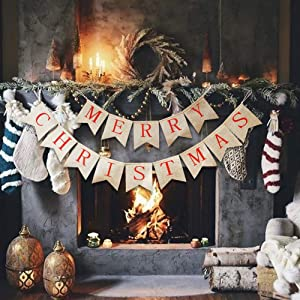 Blissun Merry Christmas Burlap Banners, Jute Burlap Banners, Merry Christmas Banner Decoration, Christmas Banner for Fireplace Wall Tree Home Christmas Decor