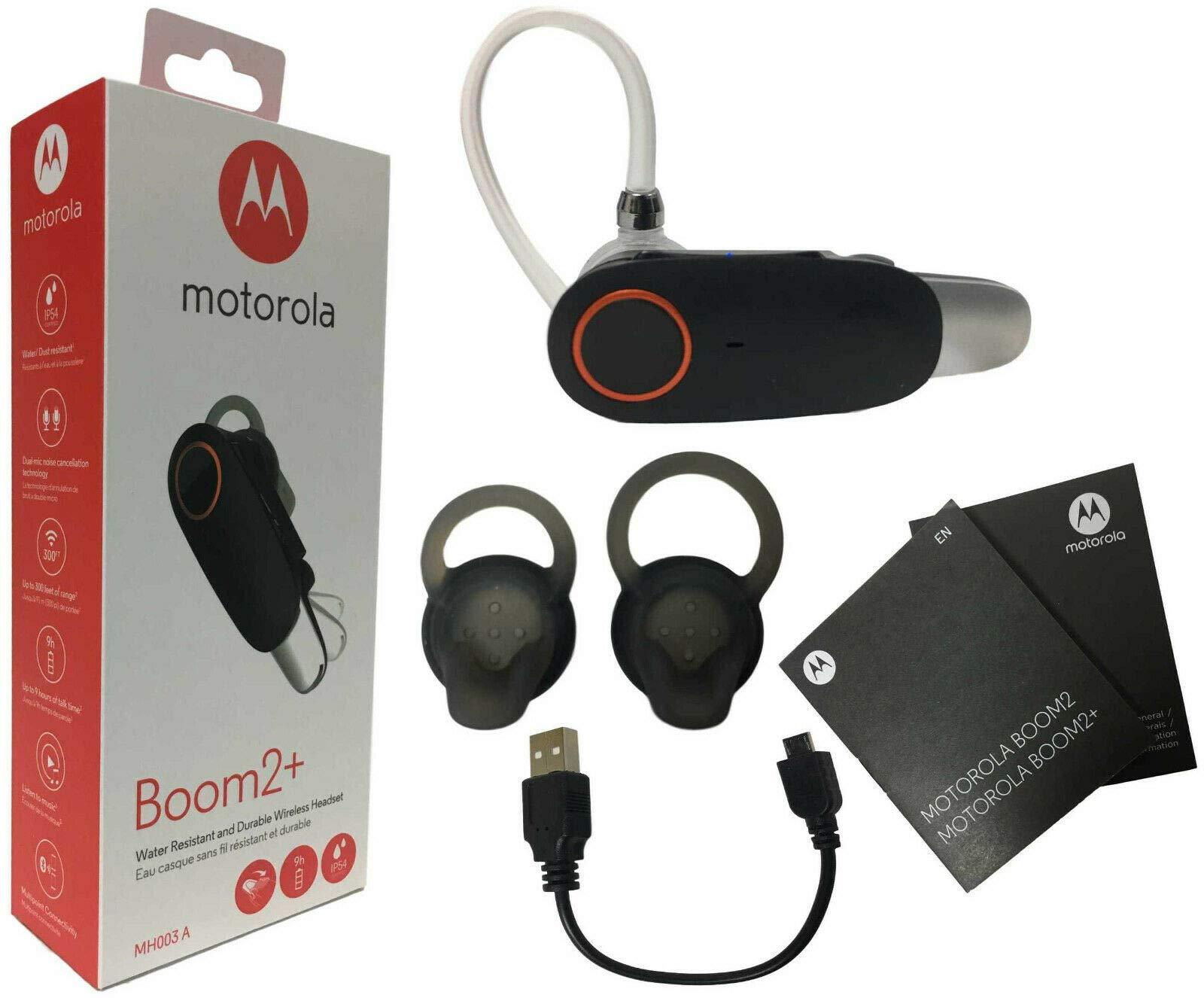 Motorola Boom 2+''HD Flip Bluetooth - Water Resistant Durable Wireless Headset W/Car Charger, (US Retail Packing by Motorola &Car KIT