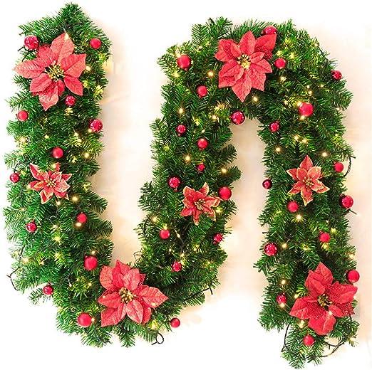 GLITZFAS Guirnalda de Navidad con LED, 2,7 Metros de Guirnalda de Abeto para Exterior, Guirnalda de Navidad de 2 guirnaldas de Abeto, escaleras, decoración de Navidad para Exterior, Rojo: Amazon.es: Jardín
