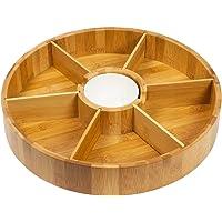 WoodLuv–Cesto Lazy Susan Bandeja de Bambú Giratoria
