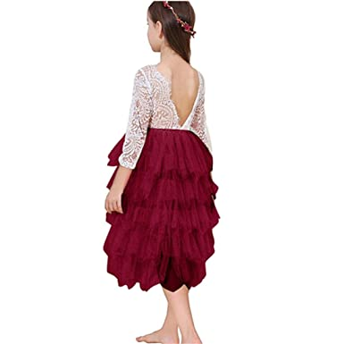 8daaffafbb0 Amazon.com  Miss Bei Lace Back Flower Girl Dress