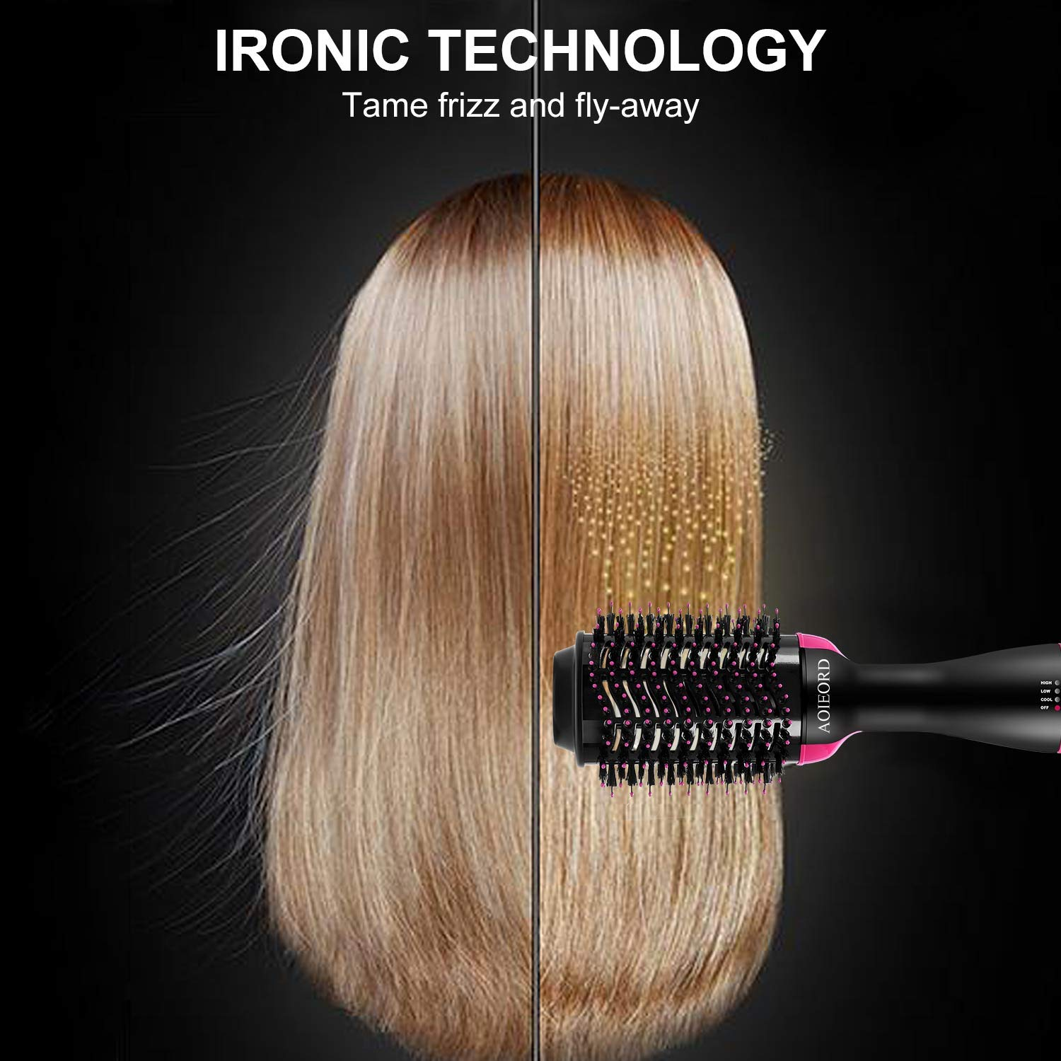 Hair Dryer Brush, AOIEORD Dry & Straighten & Curl in One Step Hair Dryer and Volumizer, Smooth Frizz with Ionic Technology by AOIEORD (Image #2)