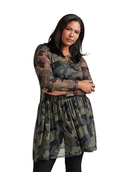 d34bb86033b970 Zizzi Damen Mesh Kleid Camouflage Transparent Langarm Army Große Größen 42- 56