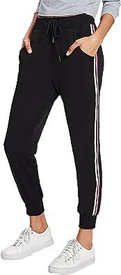 SweatyRocks Women's Drawstring Waist Striped Side Jogger Sweatpants Pockets Black