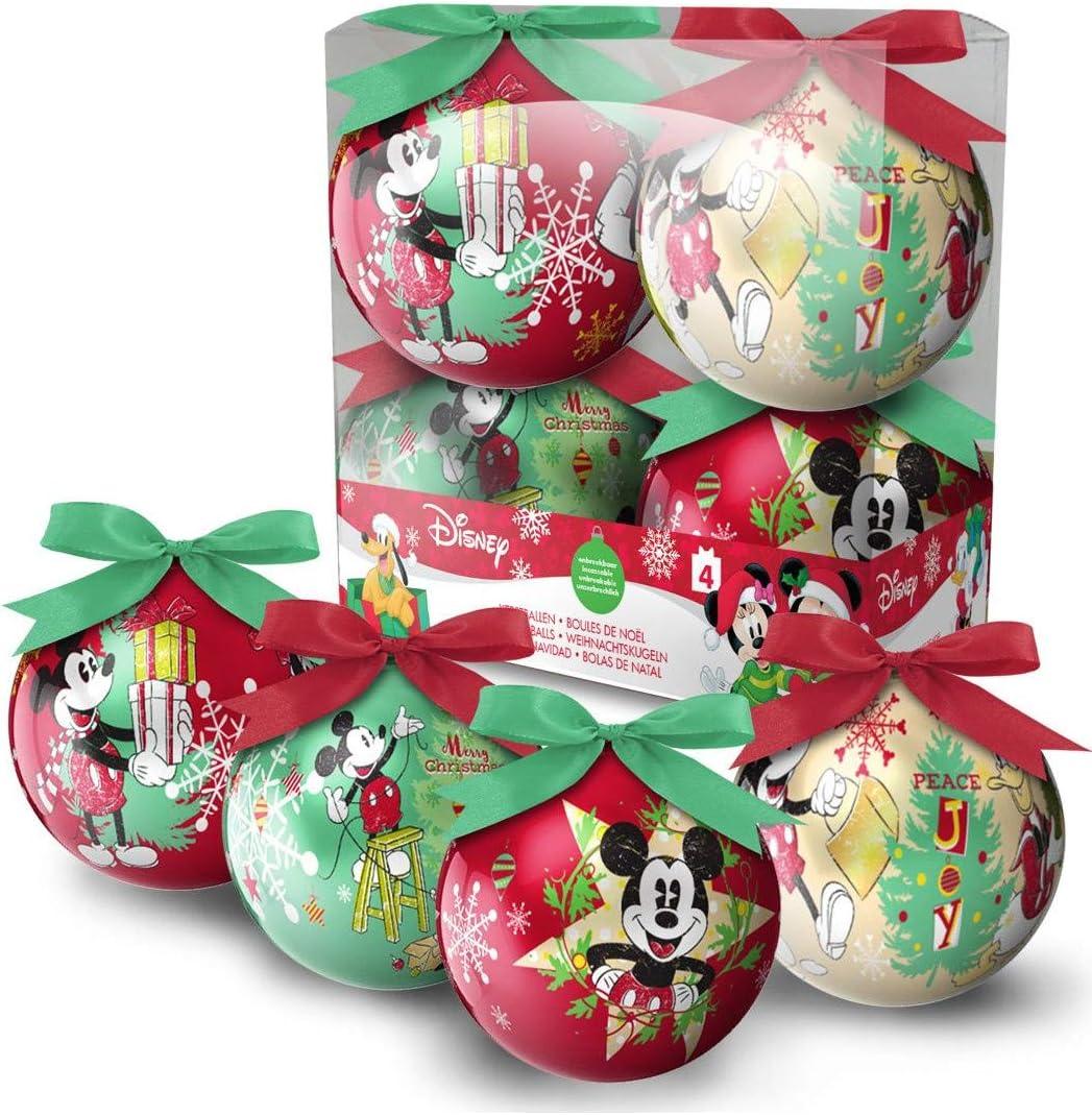Eminza - Juego de 4 bolas de navidad disney mickey: Amazon.es: Hogar