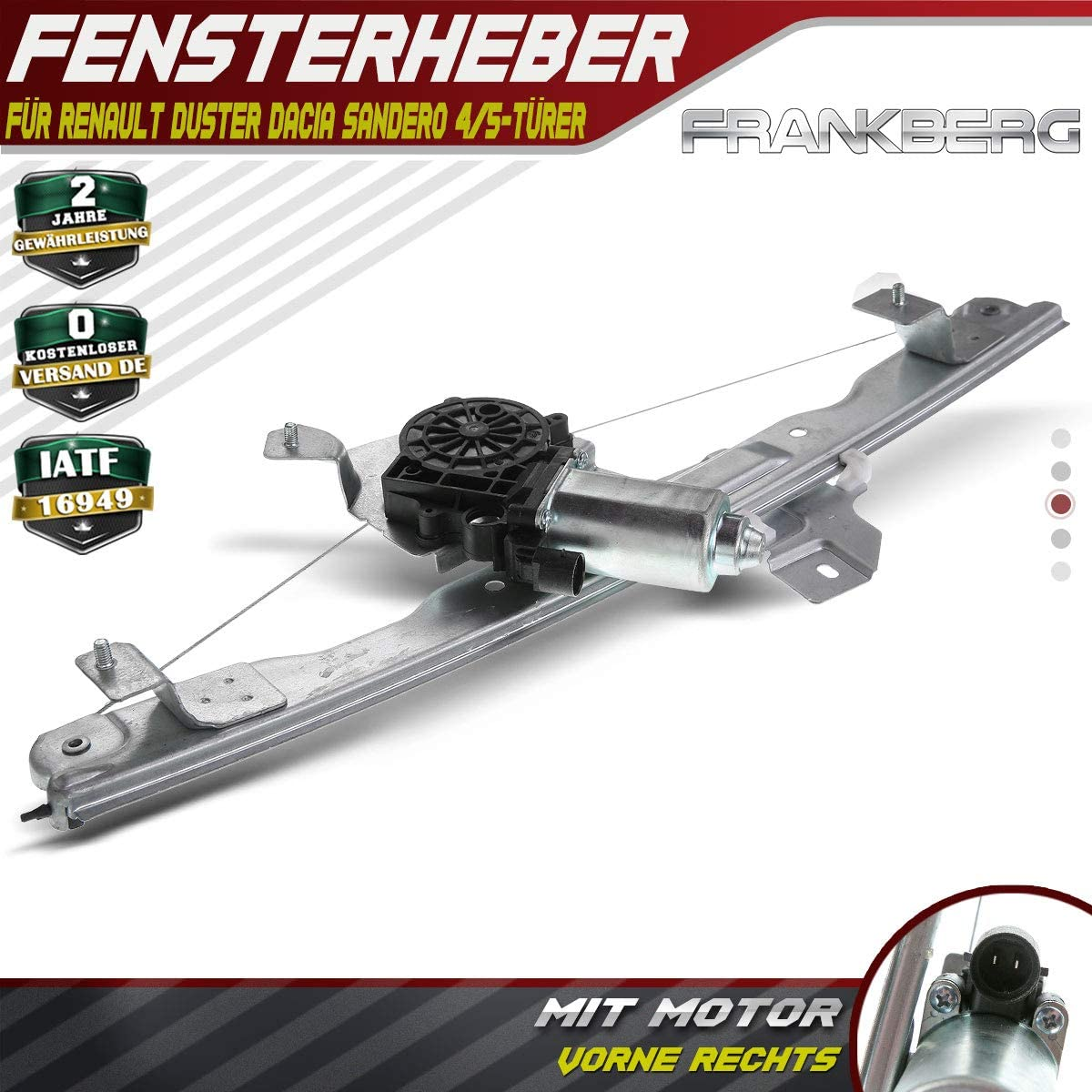 Frankberg Window Regulator with Motor Front Right for Duster Sandero 2010-2018 8200733828