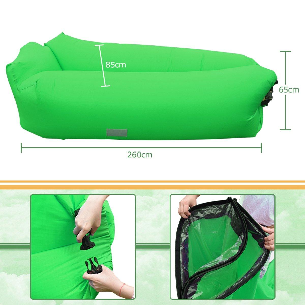 Portatile Impermeabile 210T Divano Gonfiabile Pneumatico Poliestere per Piscina Cpiaggia Verde IREGRO Divano Gonfiabile con Cuscino Integrato e Borsa Campeggio