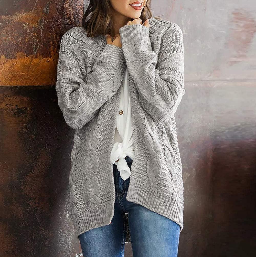 Women Fashion Long Sleeve Coat Loose Casual Overcoat Warm Winter Jacket Girls Solid Sweater Outwear Tops