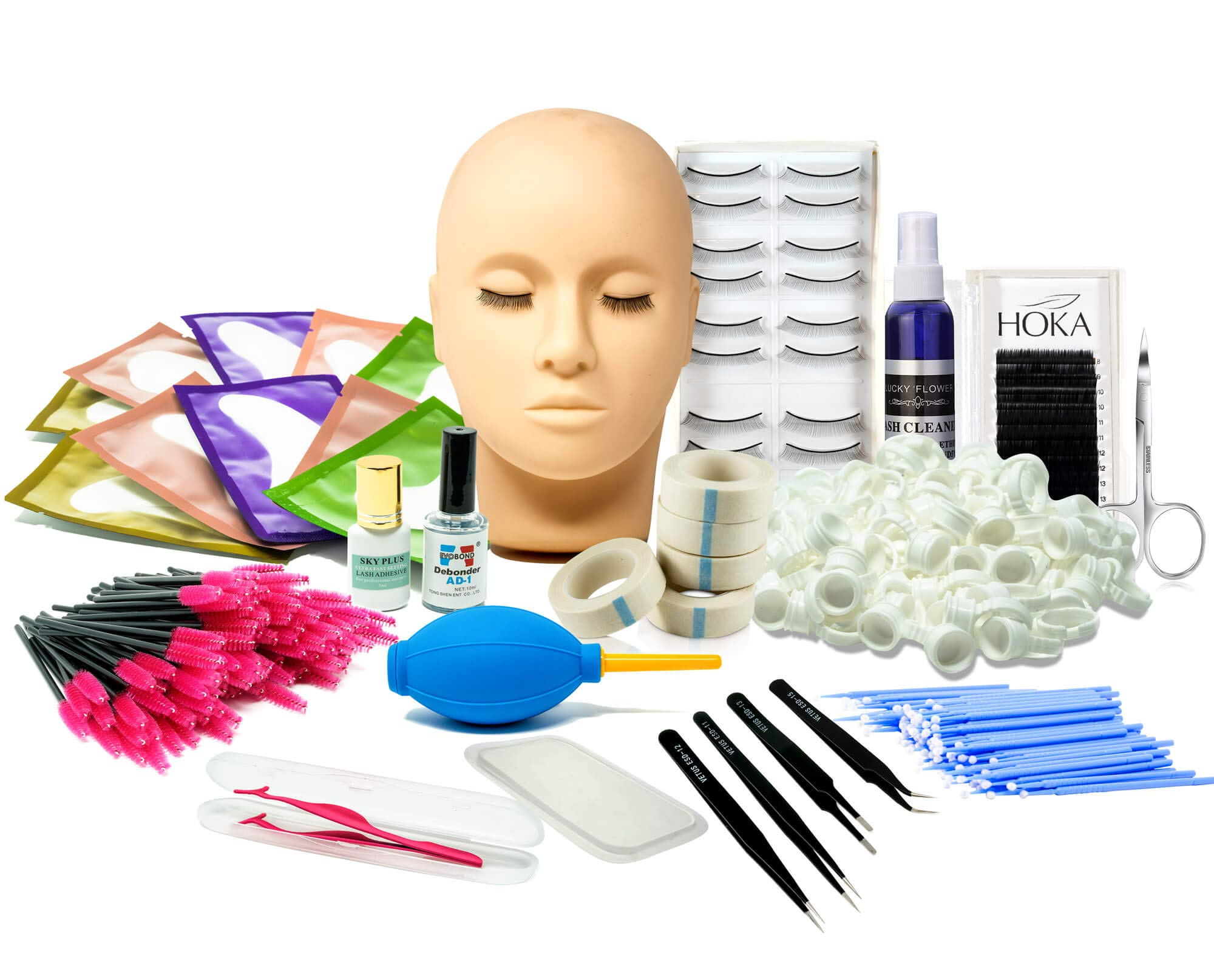 Lash Eyelash Extension Kit: Professional Mannequin Head Training For Beginners Eyelashes Extensions Practice Cosmetology Esthetician Supplies with Mink Individual Eye Lashes Glue Tweezers Tools Case by HOKA