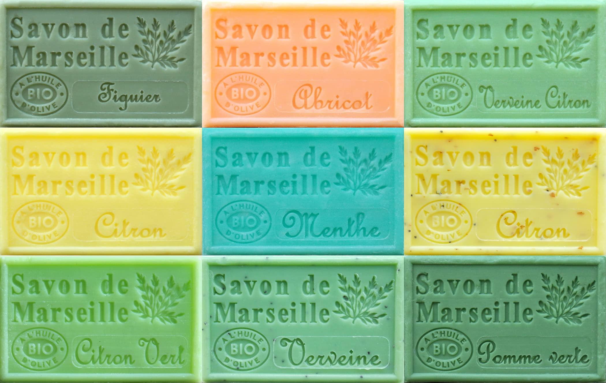 Savon de Marseille French Soaps, Boxed Set of 9 x 125g Soap Bars (Refreshing Fragrances), Vegetable Soap