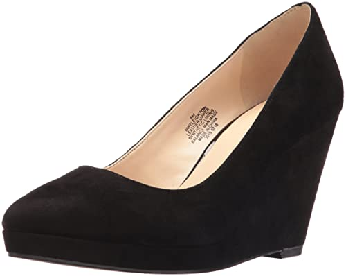 aea6563eb6615 Nine West Women's Leighton Suede Wedge Pump, Black, 8 M US: Amazon ...