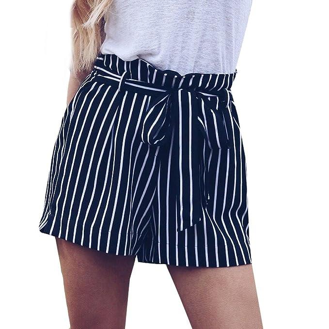 Lonshell_Damen Hosen Damen Kordelzug Mode Streifen Kurze Hose Sommer Strand Hohe Taille Hot Pants Lace up Freizeit Bleistifthosen Shorts
