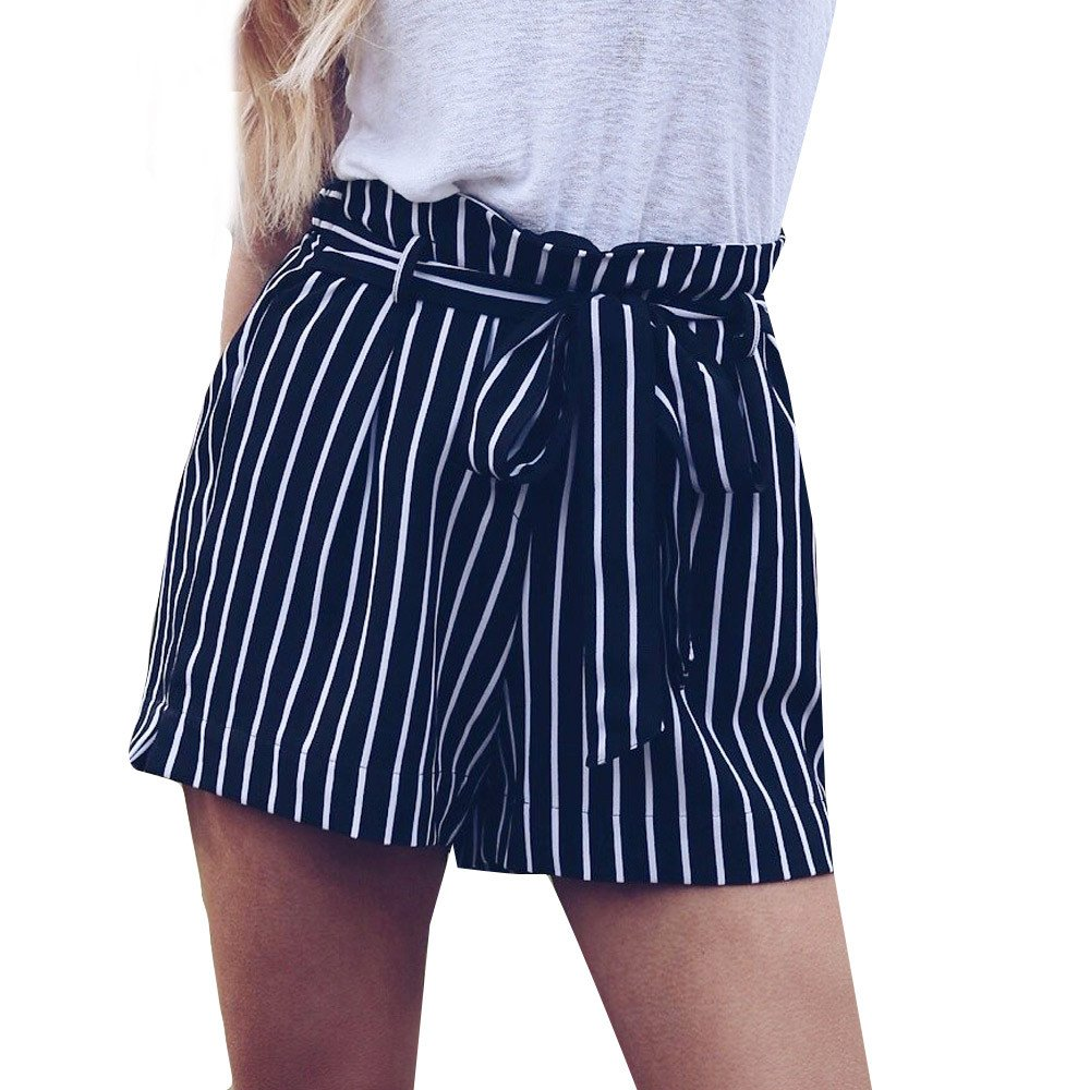 Womens Shorts, Libermall Women's Casual Stripe Printed Shorts Bandage Elastic Waist Trousers Short Pants Navy
