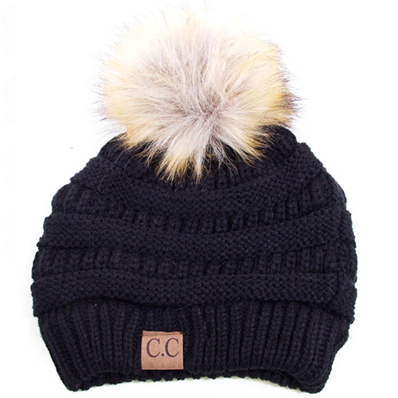 ScarvesMe CC Soft Stretch Cable Knit Ribbed Faux Fur Pom Pom Beanie Hat (Black)