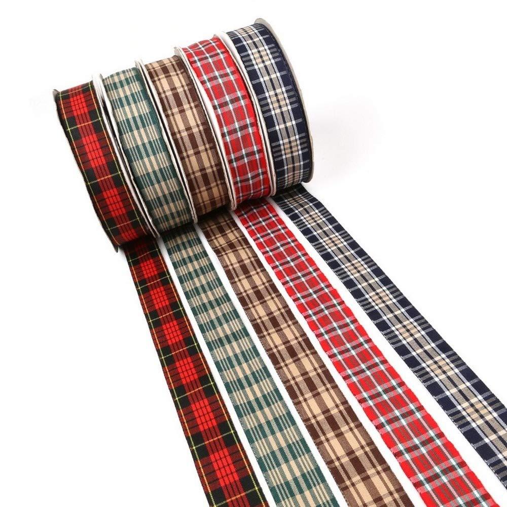 Opzioni multiple Scottish Plaid Grid Stampato Ribbon per la decorazione di casa fai da te Regalo che avvolge i nastri natalizi
