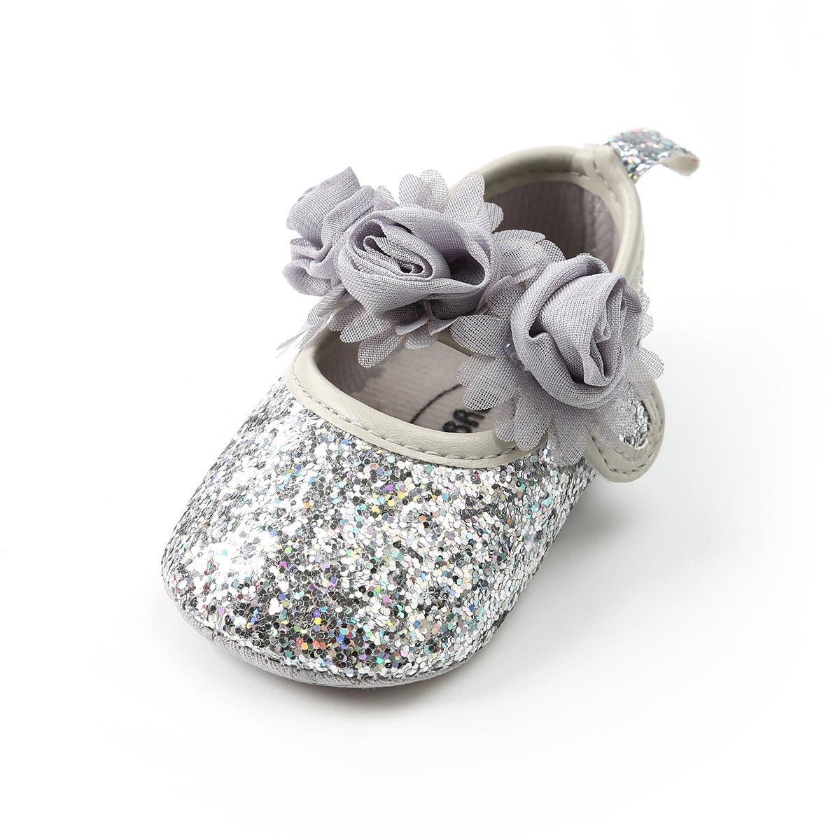 Baby Girl Moccasins Princess Sparkly Premium Lightweight Soft Sole Prewalker Toddler Shoes (L:12-18 Months, 1816-Silver)