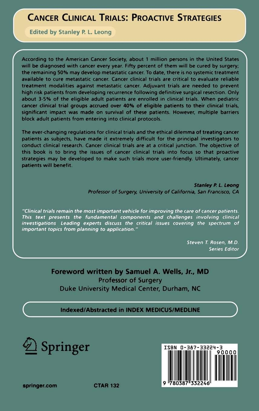 Cancer Clinical Trials: Proactive Strategies Cancer Treatment and