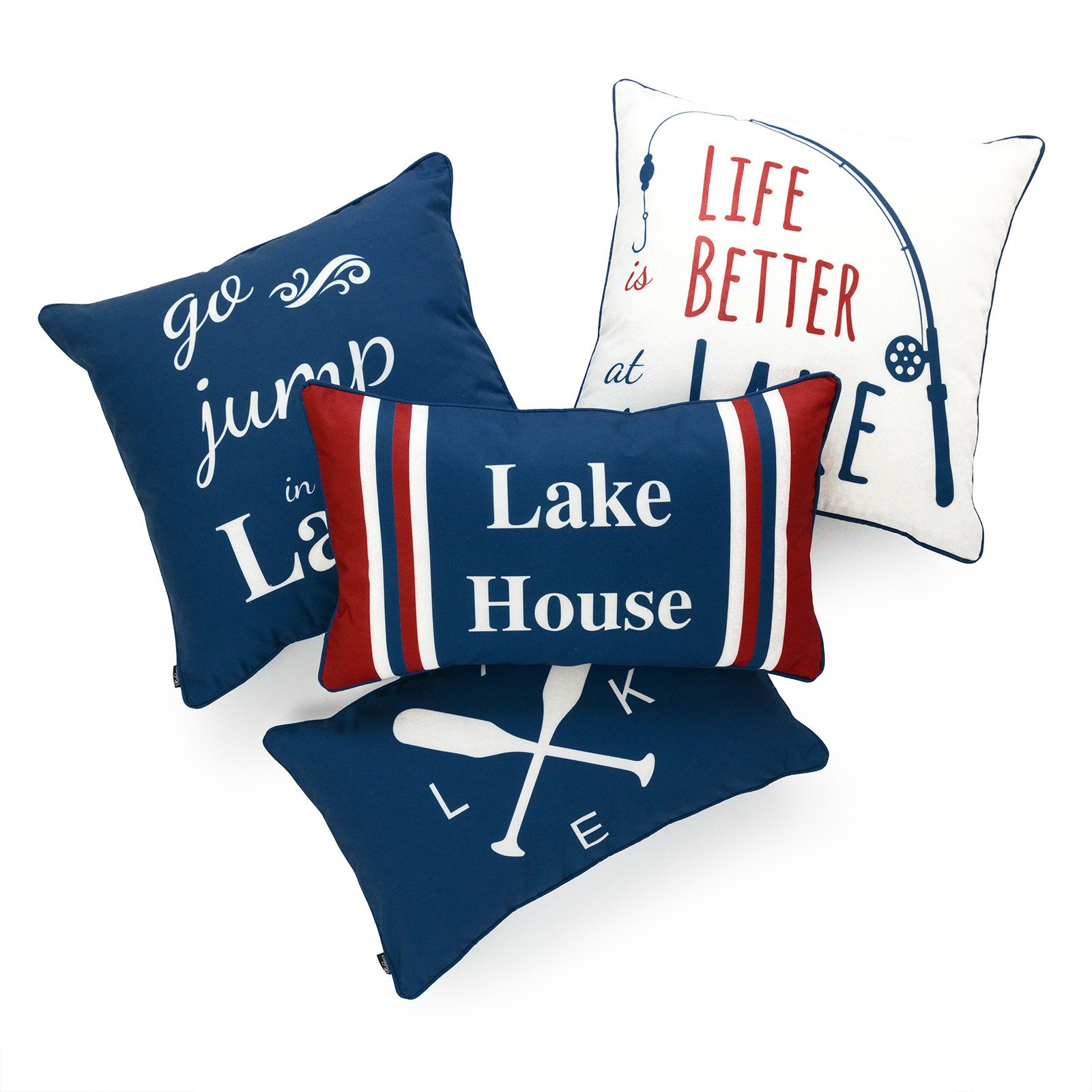Hofdeco Lake House Indoor Outdoor Pillow Cover ONLY, Water Resistant for Patio Lounge Sofa, Navy Red White Life Better Go Jump in Lake, 18''x18'' 12''x20'', Set of 4