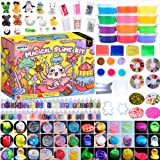 HSFTILV Super Slime Kit Supplies-12 Crystal Clear Slimes with 54 Packs Glitter Sheet Jars, 3 Jelly Cubes,4 Pcs Fruit…