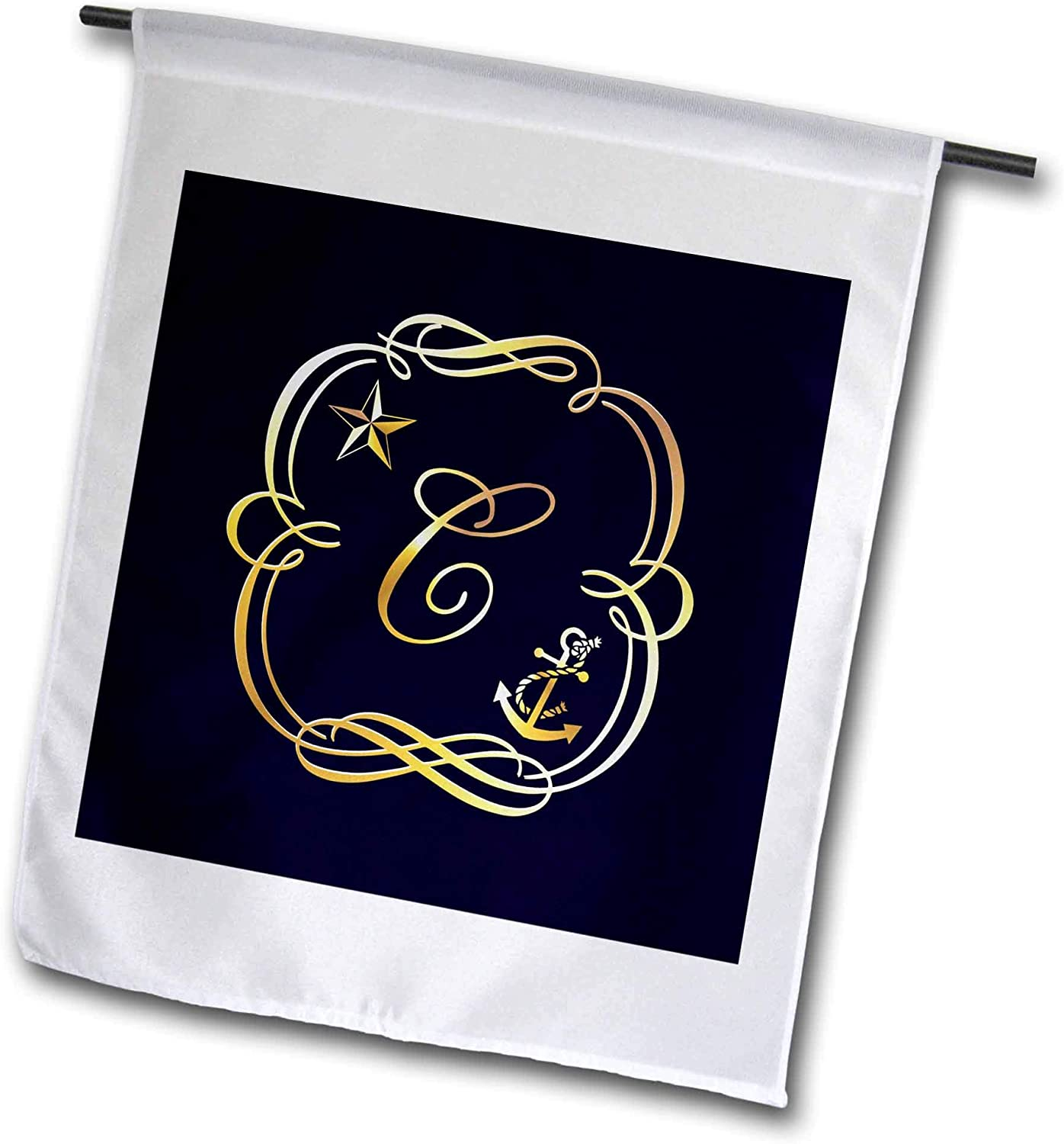 3dRose Russ Billington Monograms-Star and Anchor Letter C - Image of Nautical Monogram Letter C with Star and Anchor- not foil - 12 x 18 inch Garden Flag (fl_298847_1)
