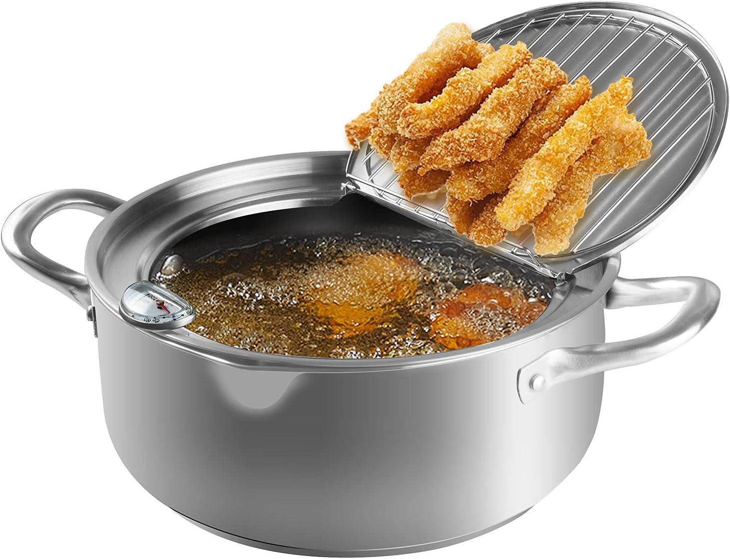 Maocaa Tempura Deep Fry Pot, 304 Stainless Steel Tempura Fryer with Thermometer, Lid Japanese Style Tempura Fryer Pan Uncoated Fryer (9.4)
