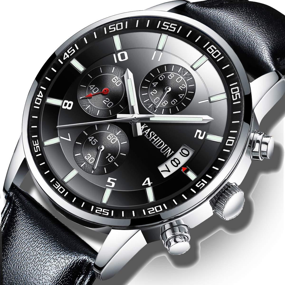 KASHIDUN Men's Watches Luxury Sports Military Quartz Wristwatches Waterproof Chronograph Leather Strap Black Color
