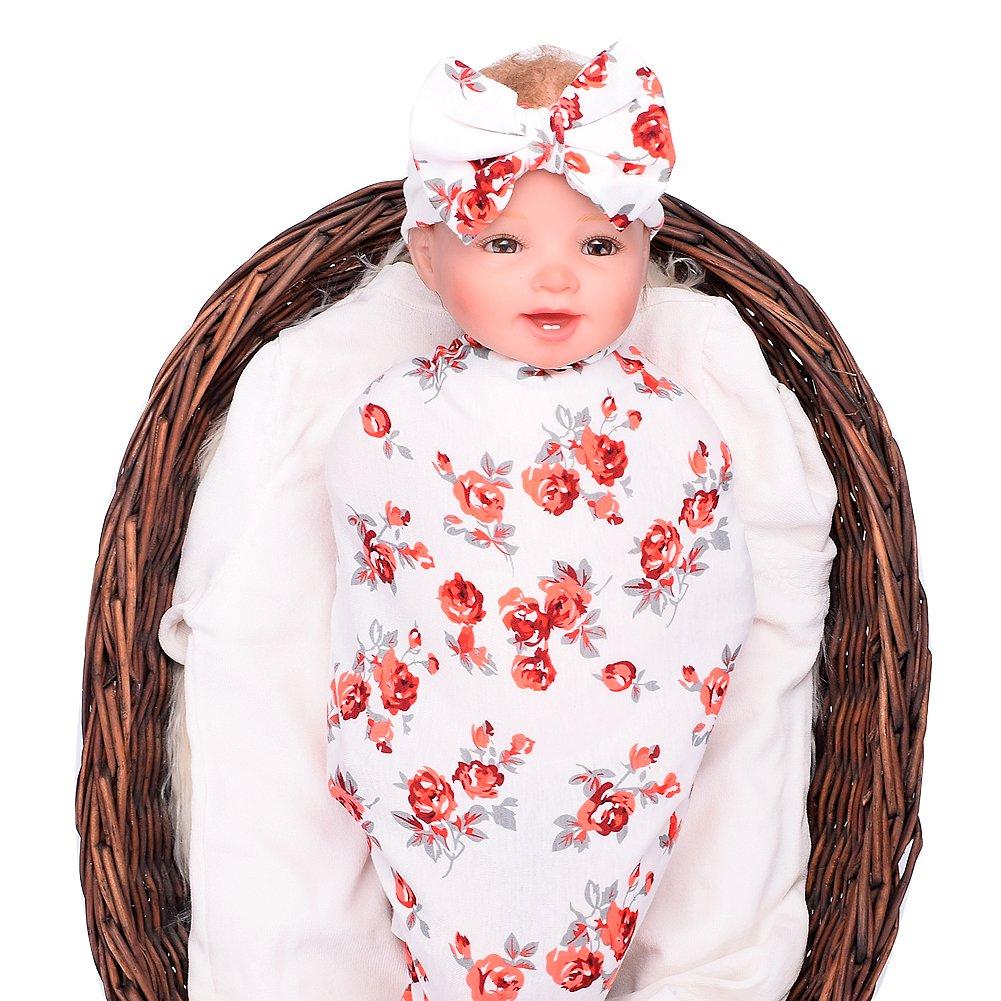 Newborn baby sleep swaddle blanket and bow headband set galabloomer (red)