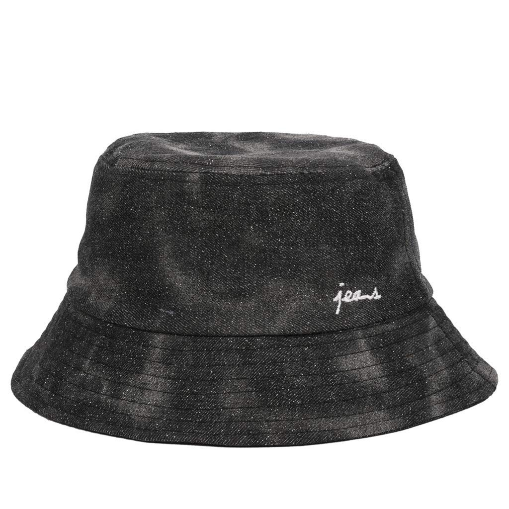 Fashion Adults Packable Bucket Hat Summer Travel Sun Fishing Fisher Beach Festival Cap (Black, Free Size)