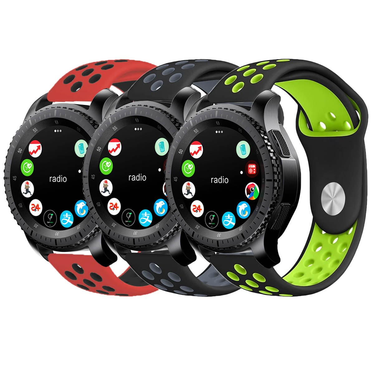 Gear S3 Bands, KADES Silicone Replacement Strap Compatible for Samsung Galaxy Watch 46mm/ TicWatch Pro/Gear S3 Frontier/Gear s3 Classic/Moto 360 2Gen 46mm/ Amazfit Stratos Smart Watch