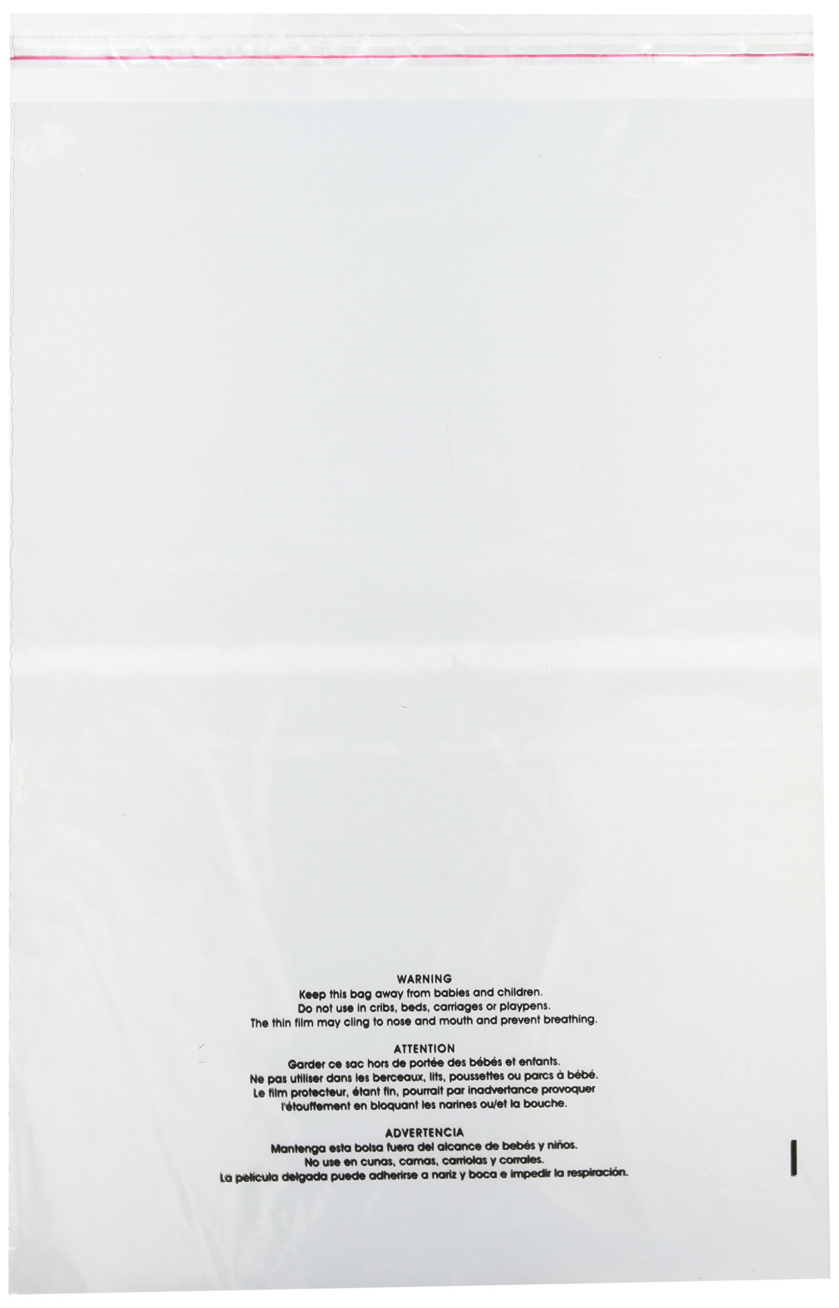 Uline 14'' x 20'' Self Seal Poly Bags with Suffocation Warning, Easy Peel and Stick Clear, 1.5 mil (S-19132) 100 count