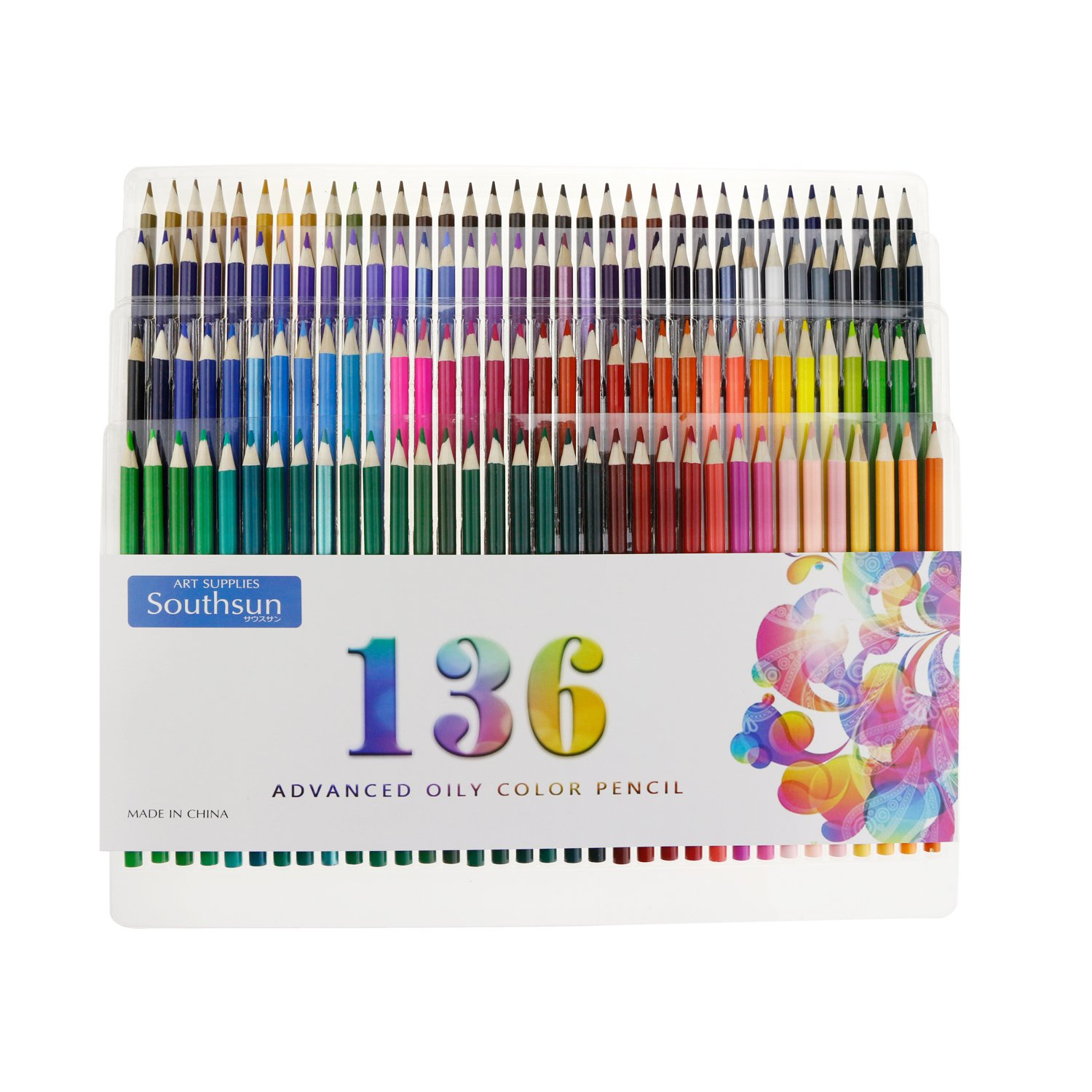 136 Pack Oil Based Colored Pencils with Storage Case for Art Coloring Drawing